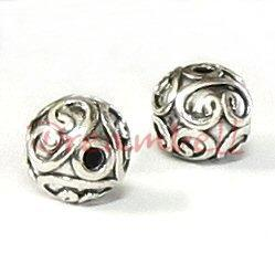 1x Bali Sterling Silver Round Flower Focal Bead 10mm